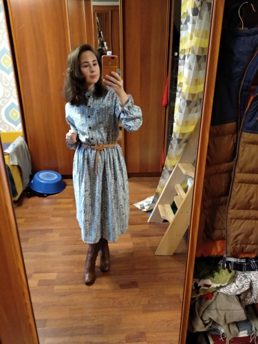 High Elastic Waist Vintage Thick Winter Dress A Line Style Women Full Sleeve Flower Plaid Print Dresses Slim Feminino photo review