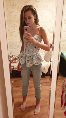 Casual Print Sleeveless Women Blouse Off Shoulder Lace Patchwork Irregular Slim Shirt Female Fashion Summer photo review