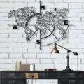 Bússola geométrica da arte da parede do mapa do mundo do metal, decoração da parede do metal, decoração da parede do escritório em casa