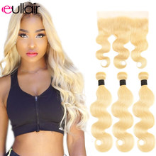 eullair Body Wave Blonde 613 Bundles With Frontal Remy Human Hair Weave Blonde Hair Bundles With 13x4 Lace Frontal 12-26 Inch(China)