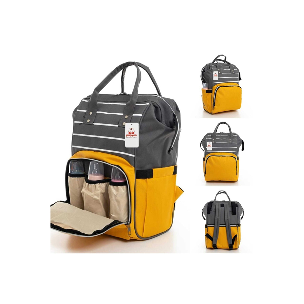 Dark Grey and Yellow Baby Backpack Bottle Thermos Liquid Proof Suspenders Mother Baby Care Large Capacity Waterproof Luxury Back
