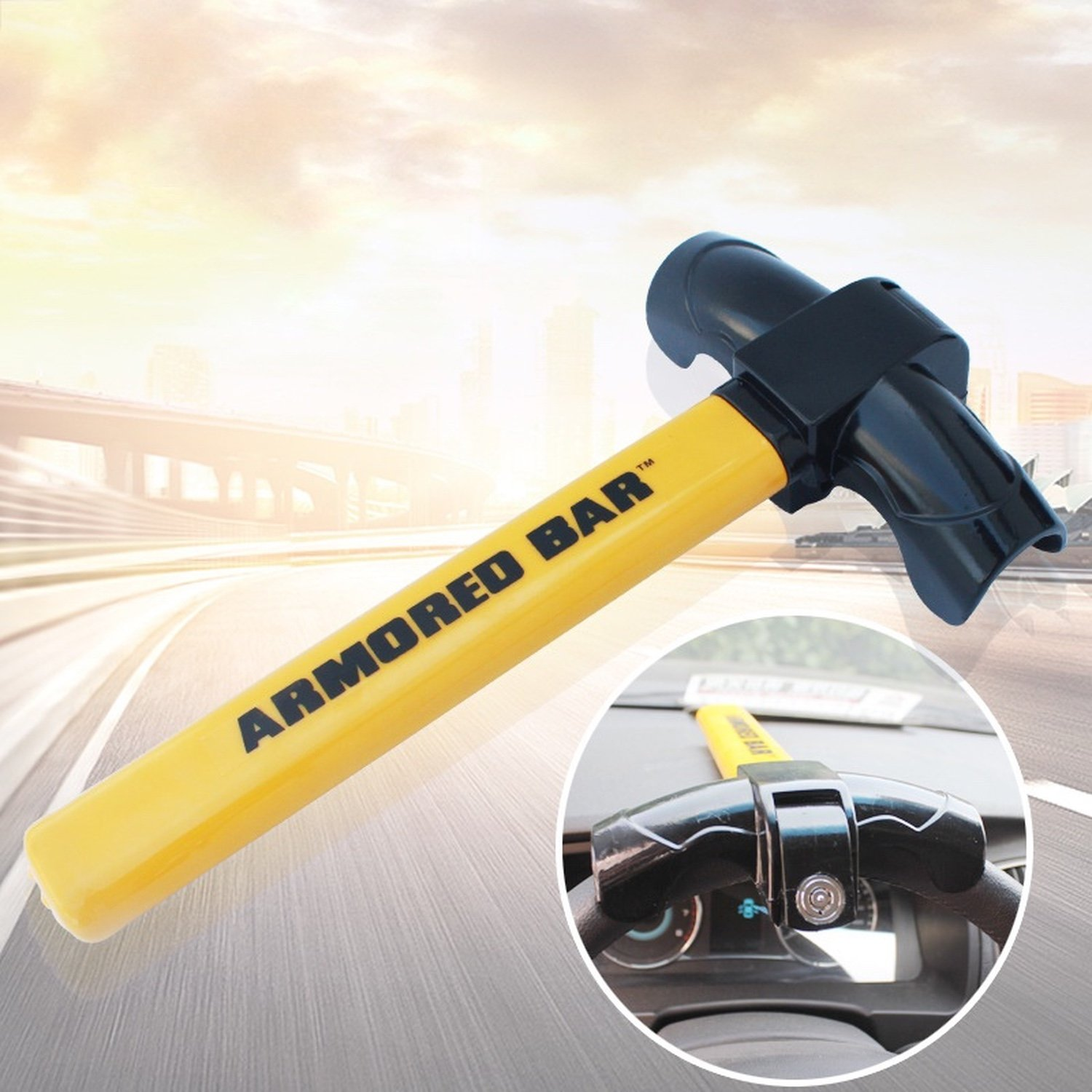 Blocker Car Steering Wheel Steering Security Bar Lock Anti-Theft