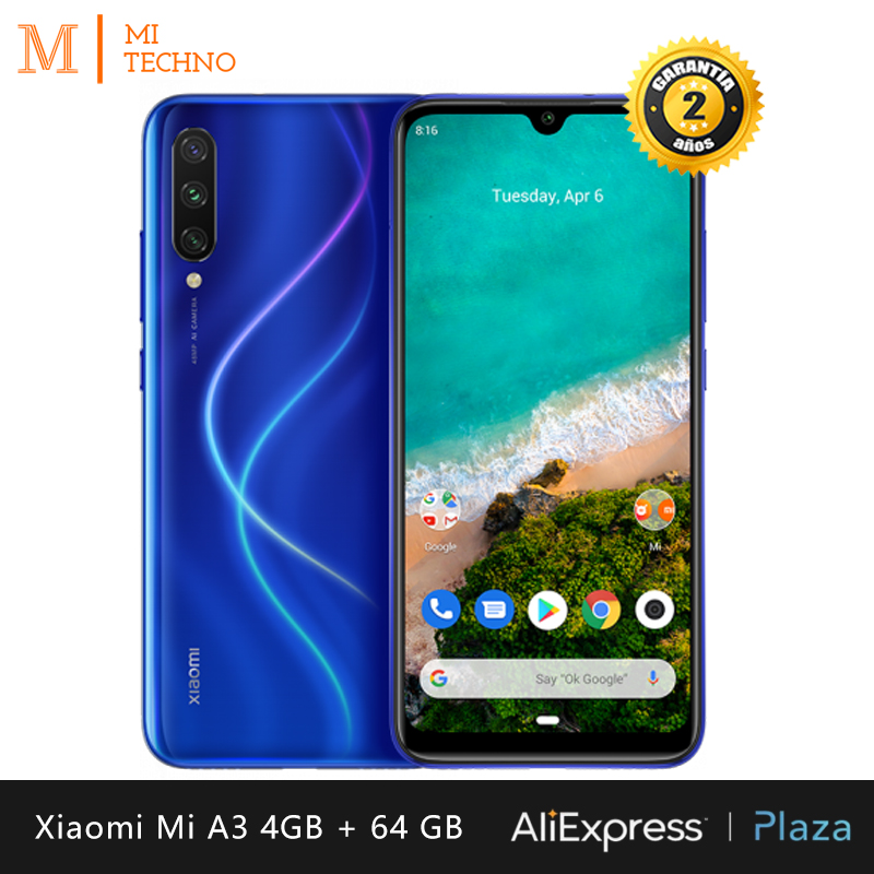 Xiaomi Mi A3 Smartphone (4 Hard GB RAM, 64 Hard GB ROM, Phone Mobile, Free, New, Cheap, Battery 4030 MAh, Triple Camera 48MP) [Global Version]