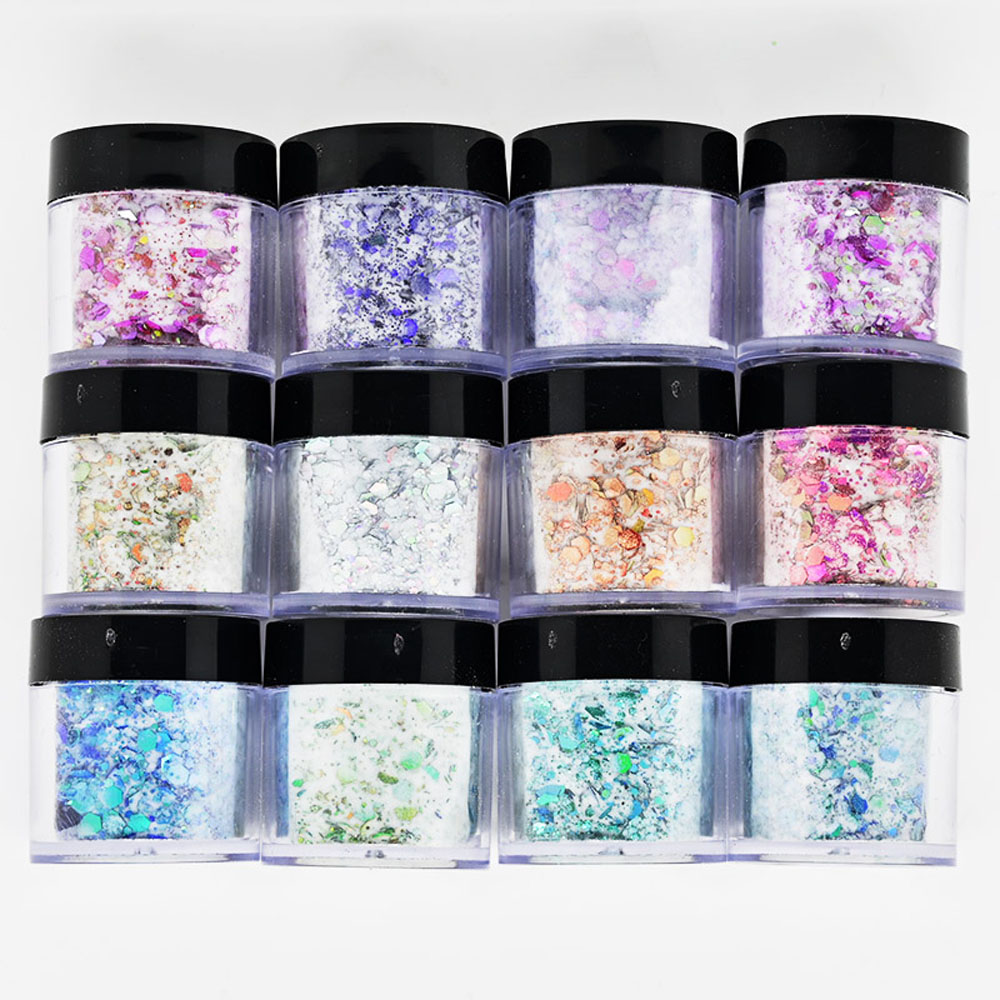3 in 1 Chameleon Glitter Powder Nail Art Pigment Dipping Extention Carving Nail Sequins Decorations Dust Acrylic Powder Tc#036