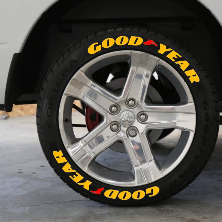 Goodyear Yellow 3D Permanent Tyre Decals Tire Lettering Label Sticker High Quality 15