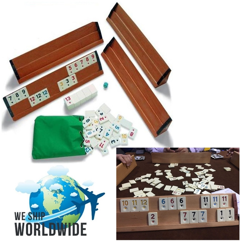 -FAST DELIVERY- Okey Rummy 4 Player Board Game WOODEN 4x Decks And Quality 106x Chips Set Skill Team Adult Party Team Game