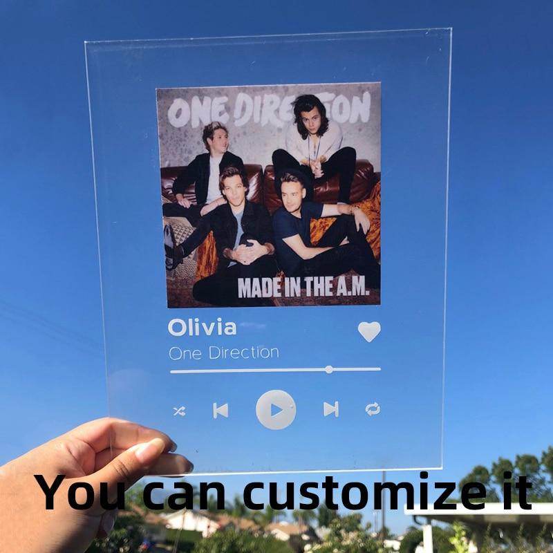 Personnalisé 3mm Plexiglass Plate Acrylic Photo Customizatio Spotify Code Acrylique Panneau De Musique Album Plaque Wedding Gift