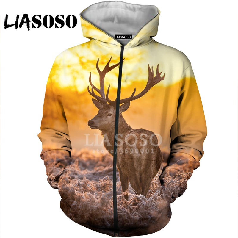 LIASOSO 3D Print Men Women Funny Deer Elk Antlers Hoodies Sweatshirts Zipper Jacket Casual Coat Hip Hop Streetwear X2736