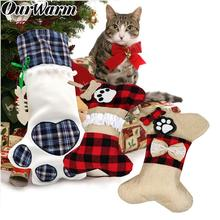 OurWarm Large Plaid Paw Christmas Stocking Pet Gift Bags Xmas Tree Ornaments New Year Decoration navidad Red/Blue