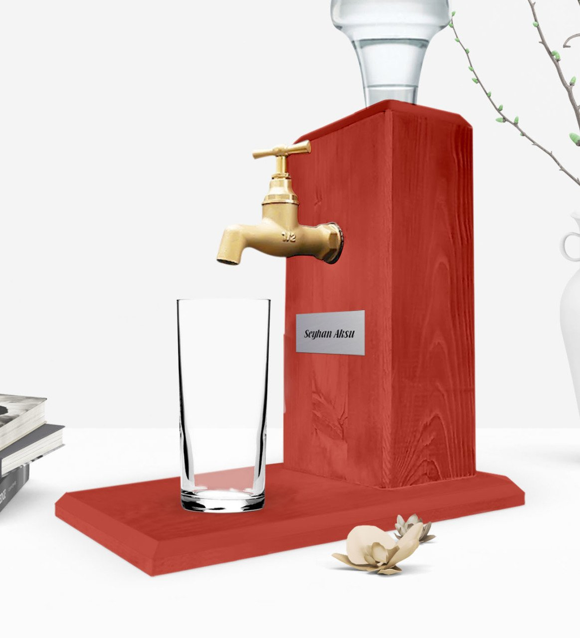 Personalized Tap Natural Wood Rack Stand-Red