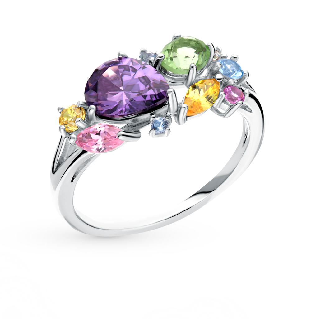 Silver Ring With Alpanite And Cubic Zirconia Sunlight Sample 925