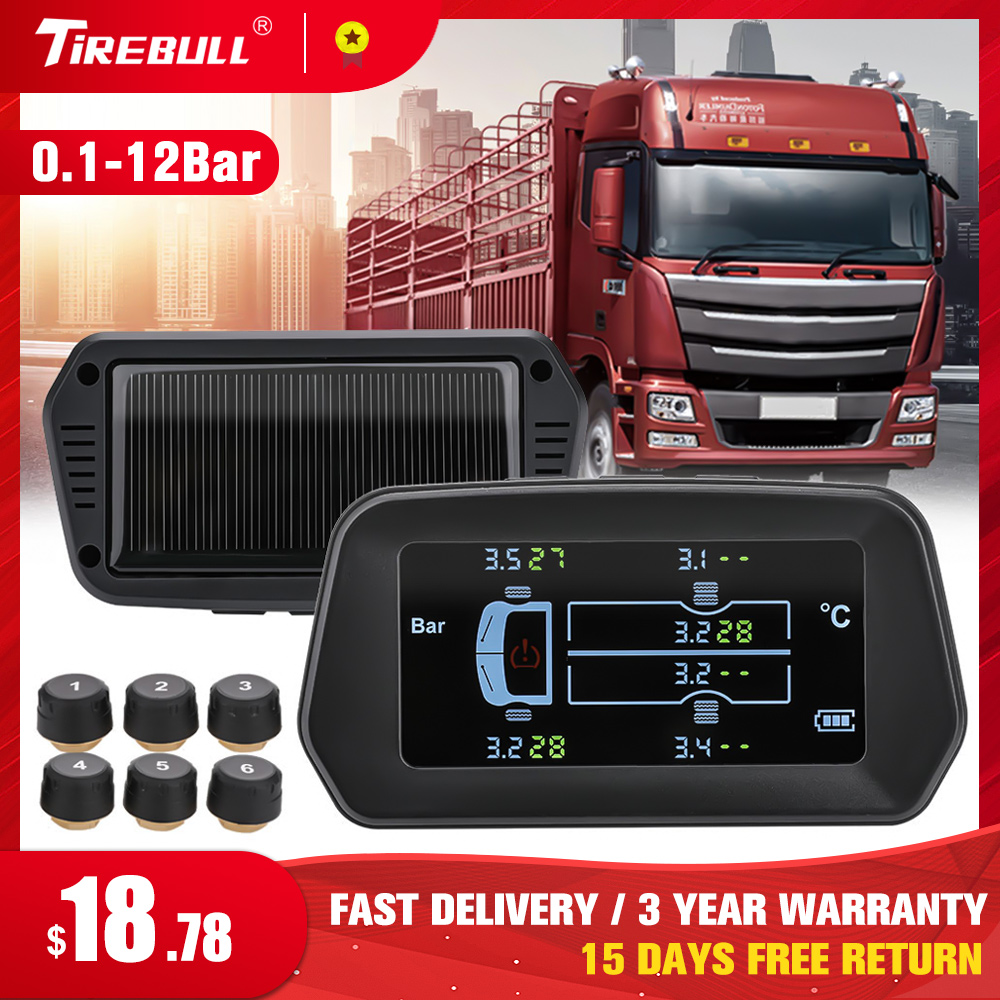 Para o caminhão carro tpms sistema de monitoramento pressão dos pneus 12bar 6pcs sensor externo lcd tela colorida monitoramento faixa pressão dos pneus