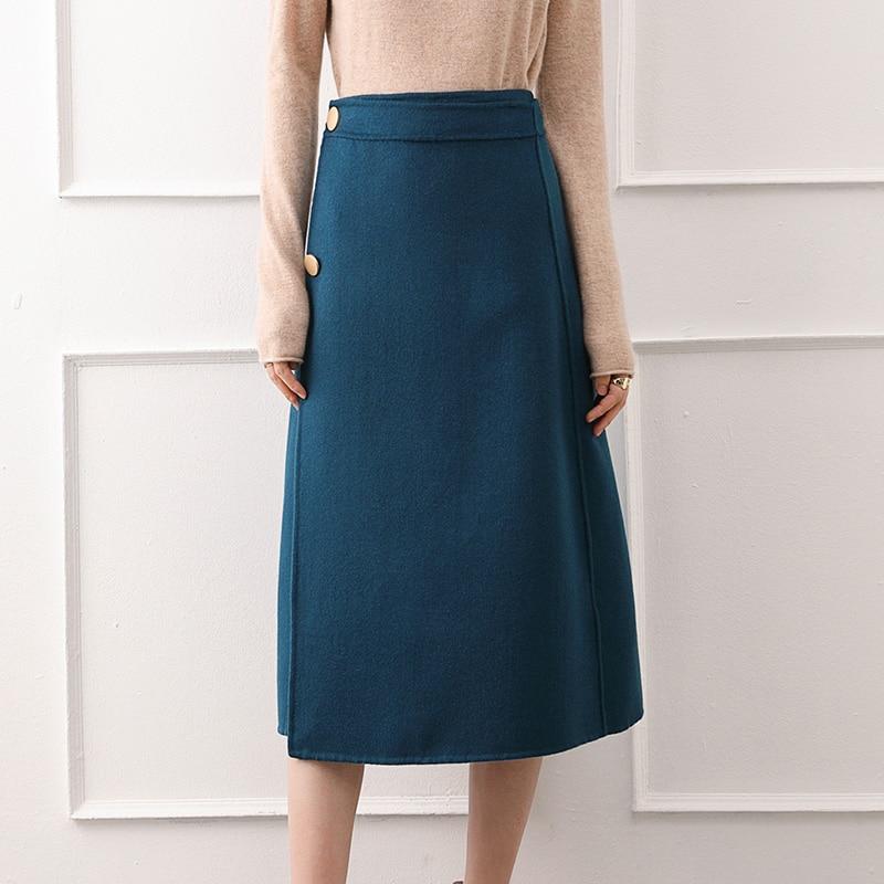 2020 New Cashmere Skirt Women Knee-length Skirt Autumn and Winter New 100% Pure Wool Skirt Slim One-step Skirt Bag Hip Skirt