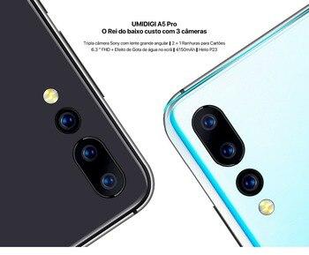 Перейти на Алиэкспресс и купить Глобальная версия umidigi A5 Pro Android 9,0 Восьмиядерный 6,3 ffhd + Дроп 16 МП Тройная камера 4150 мАч 4 Гб ram 4G смартфон cel