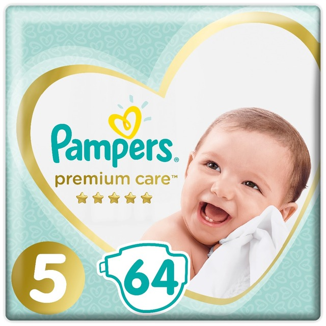 Подгузники Pampers Premium Care  Размер 5, 11-16кг, 64 штуки
