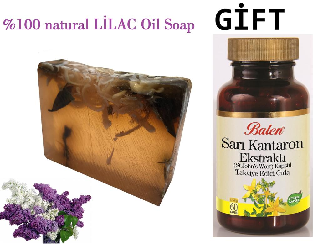 (gift Items)HANDMADE LILAC Essential Oil 100gr Soap+Gift Food Supplement Health And Beauty Herbal St John's Wort 60 Capsules