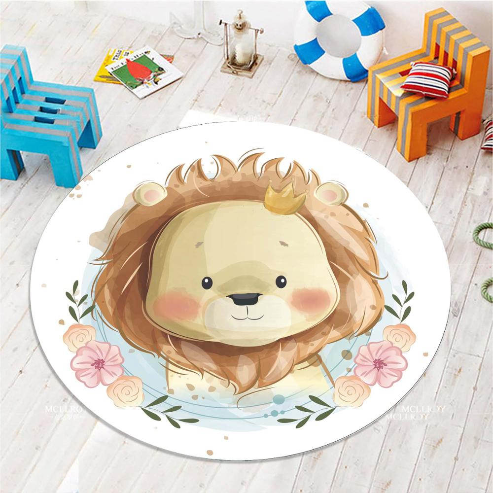 Else Brown Cute Lions Flowers Frames 3d Pattern Print Anti Slip Back Round Carpets Area Rug For Kids Baby Children Room