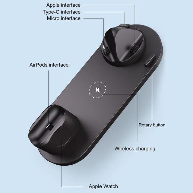 6 in 1 Wireless Ladestation USB-C 10W QI Schnellladegerät 6