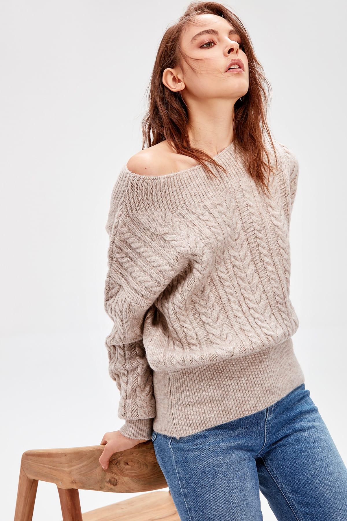 Trendyol WOMEN-Beige Ribana Detailed Knitwear Sweater TWOAW20NV0031