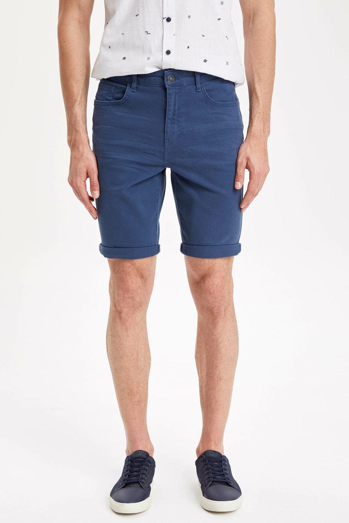 DeFacto Fashion Man Button Shorts Male Casual Zipper Short Pants High Quality Men's Comfortable Shorts Blue - J9772AZ19SM