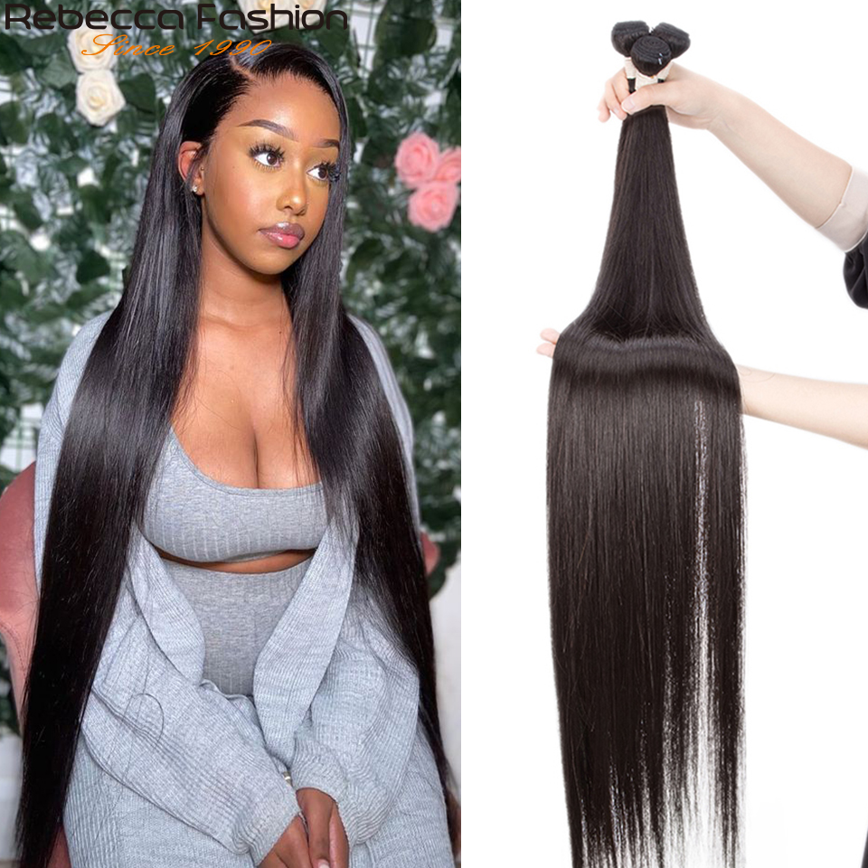 Rebecca 30 32 34 36 pulgadas mechones extensiones de cabello peruano mechones 100% extensiones de cabello humano mechones de cabello humano Remy