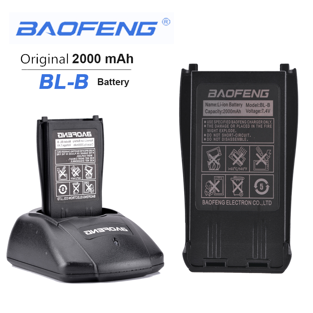 New Original BL-B 7.4V 2000mAh Li-ion Battery For Phone Accessories Baofeng UV-B5 UV-B6 Dual Band Radio Walkie Talkie Antennas
