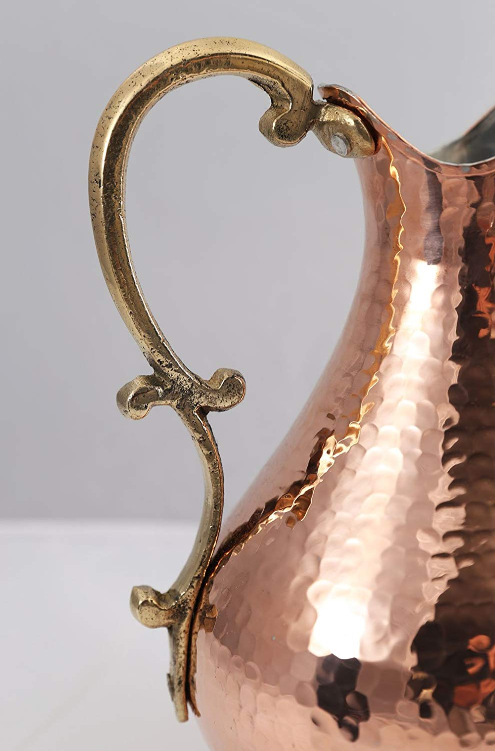 8- Premium Quality Copper Wine Pitcher Water Jug Wine Jug Pure Copper Pitcher Carafe Handmade , Hand Hammered Made in Turkey Drinkware 2 Lt (70 fl oz) Cristmas Gift Box Hand Carved Hand Crafted