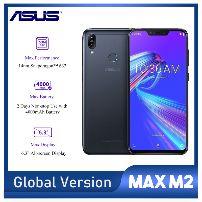"""Global Version Asus Zenfone Max M2 Cellphone 3GB 32GB Snapdragon 632 6.3"""" All-screen Display  4000mAh Battery LTE"""