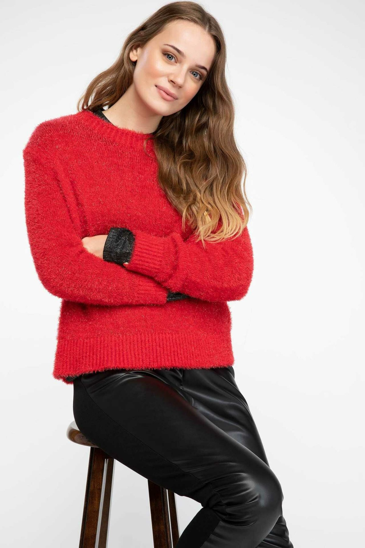 DeFacto Women Simple Fashion O-neck Solid Knitted Pullovers Casual Loose Pullovers Sweatshirts Autumn New - J2215AZ18WN