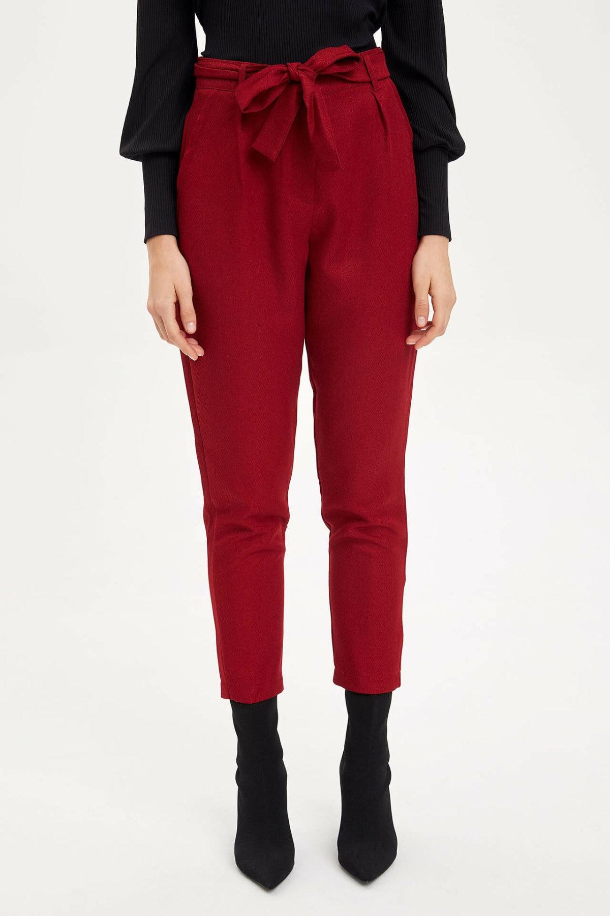 DeFacto Woman Winter Solid Color Harem Pants Women Casual Bowknot Decors Long Pants Women Black Red Bottoms Trousers-M8810AZ19WN