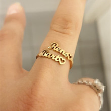 Wedding-Gift Jewelry Joyeria Two-Name-Ring Stainless-Steel Tous Custom Adjustable Personalized
