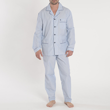 The night owl men's pajamas long sleeve classic striped cotton poplin fabric for men XL green