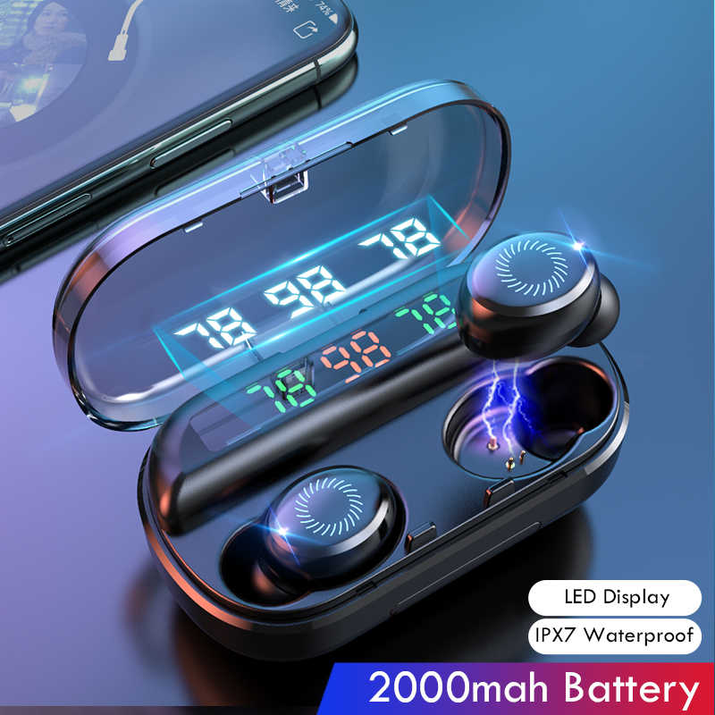 V10 Pro Bluetooth 5.0 Earphone Mini Wireless Headphone dengan Mikrofon Kebisingan Membatalkan Sport Headset Earbud untuk IOS Android