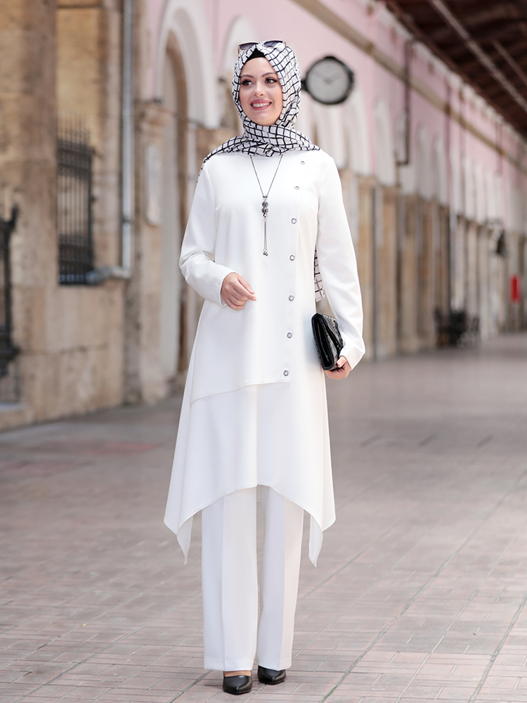 Women Hijab Muslim Suit Tunic Pants Combination Islamic Fashion Casual Wear Made in Turkey Morocco Dubai Wedding Ceremony