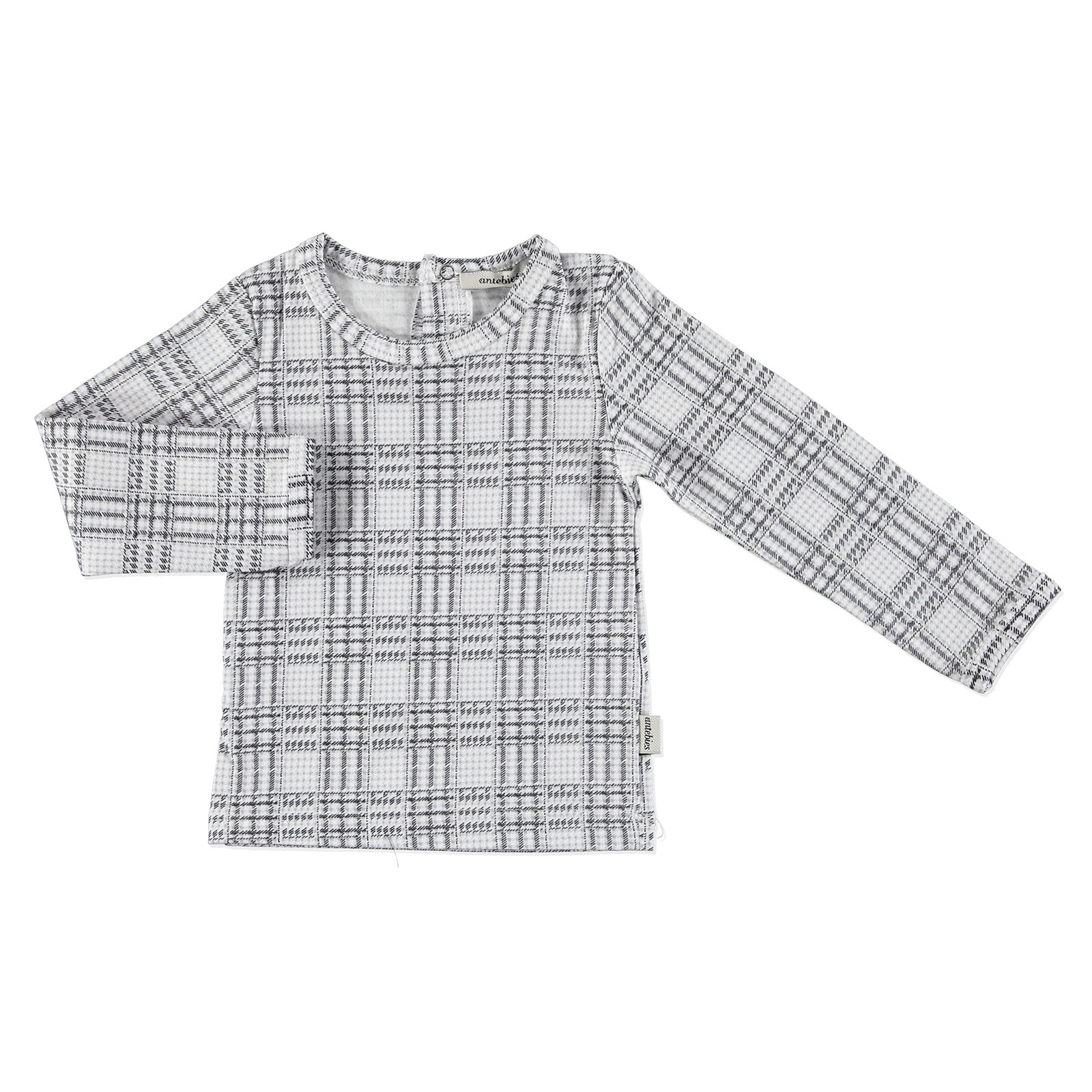 Ebebek Antebies Baby Organic Plaid Pattern Suprem Fabric Long Sleeve Bodysuit