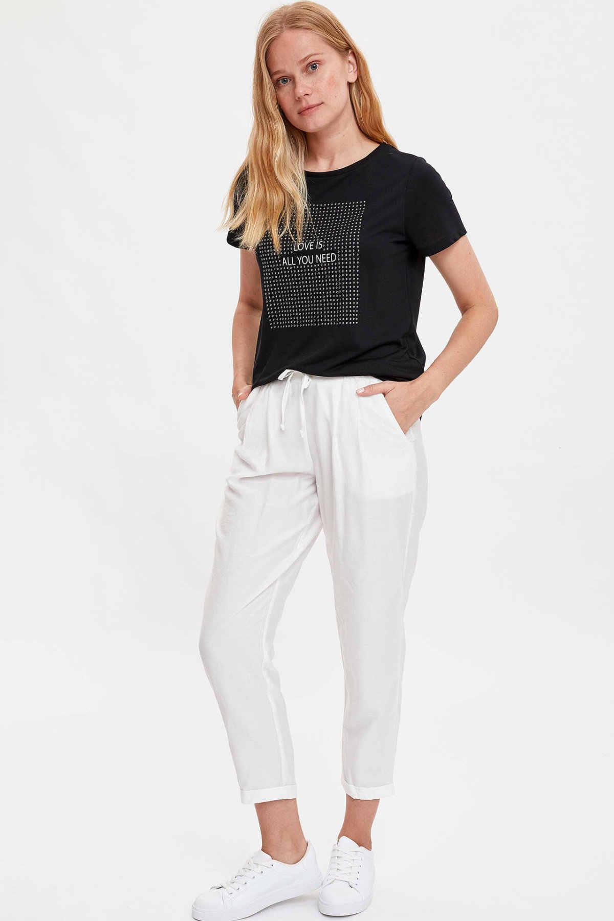 Defacto Vrouwen Crew Brief Patroon T-shirt Fashion Dames Simple Casual Korte Mouw T-shirt Vrouwen Harajuku T-shirt-L0055AZ19SM