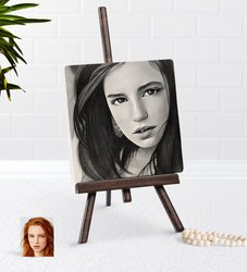 Personalized Women 'S Charcoal Artistic Portrait Design Şovaleli Natural Taş-12