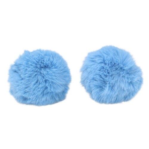 Pompon Made Of Artificial Fur (rabbit), D-8cm, 2 Pcs/pack (a T. Blue)