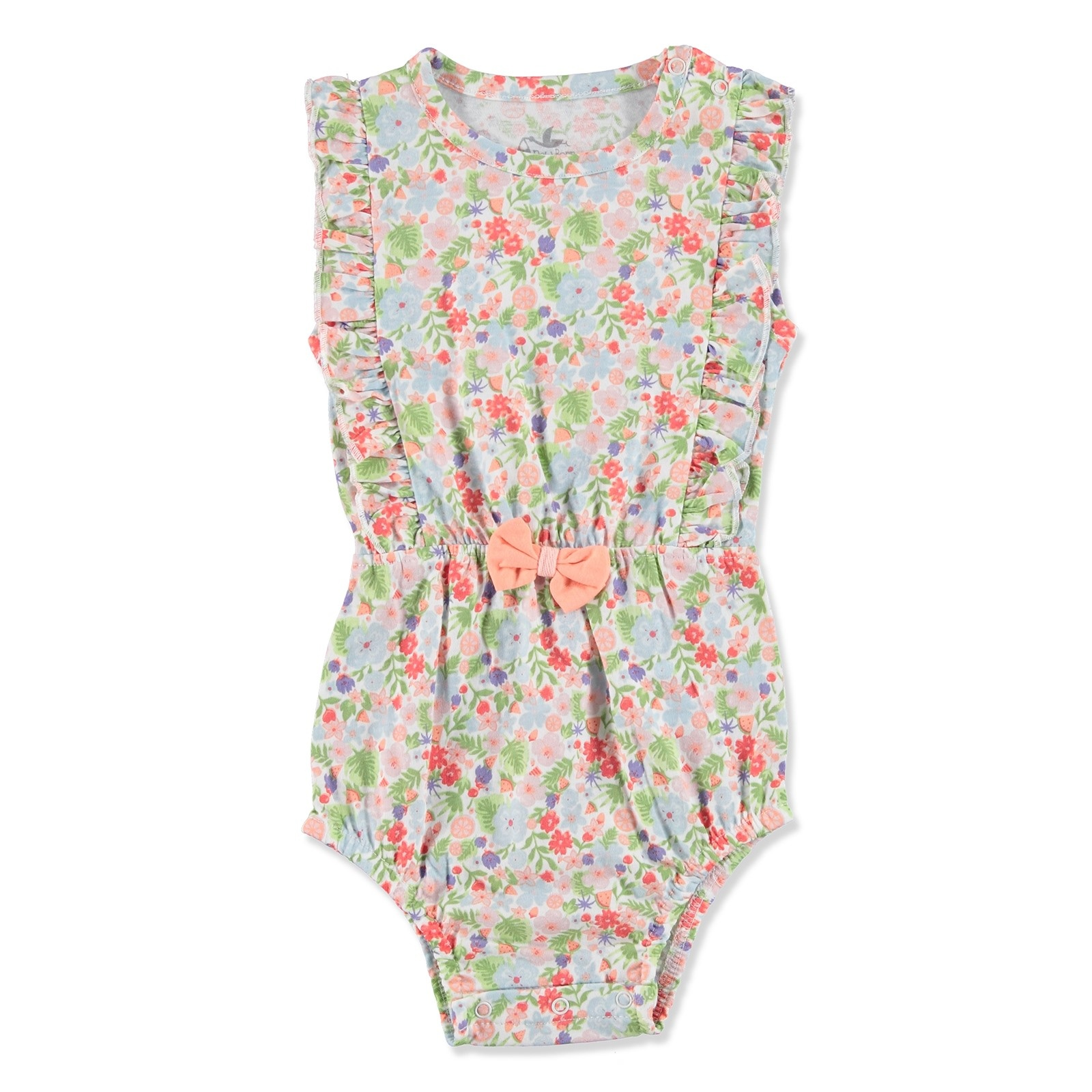 Ebebek Newborn Fashion Club Tropical Summer Baby Girl Ruffled Bodysuit