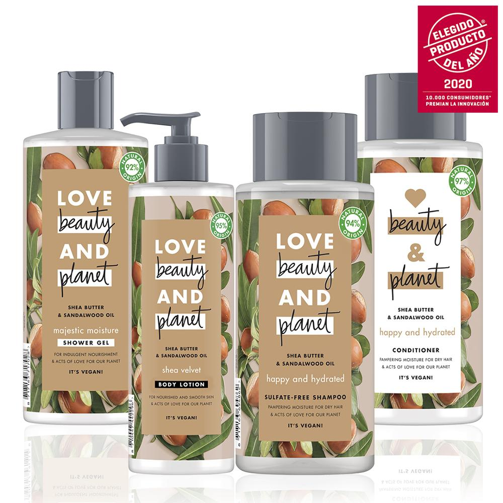 LOVE BEAUTY AND PLANET Set Sampoo, Conditioner, Shower Gel And Body Lotion Vegan Shea Butter And Sandalwood