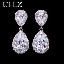 Uilz zircons clássico gota de água em forma zircônia cúbica cristal brincos de noiva casamento jóias para noivas ue091