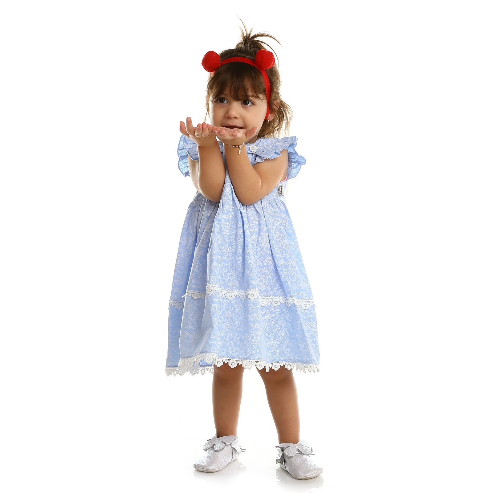 Ebebek Bebemania Summer Baby Girl Blue Flower Dress