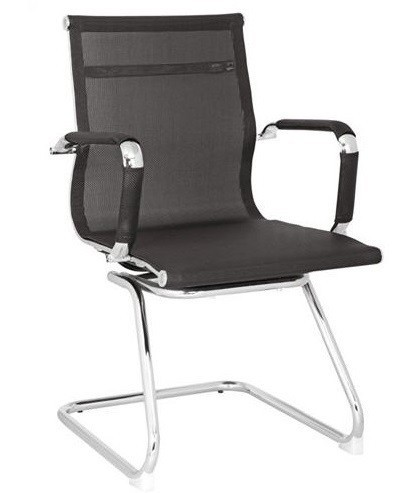 Office Armchair EGER, Fixed, Plating, Black Mesh