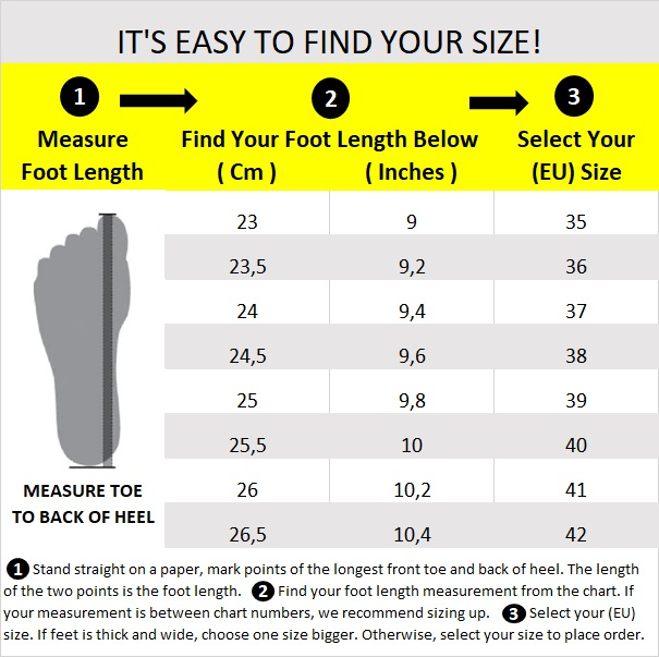 aaaC - Shoe Size Chart 37x24 Cm English 23