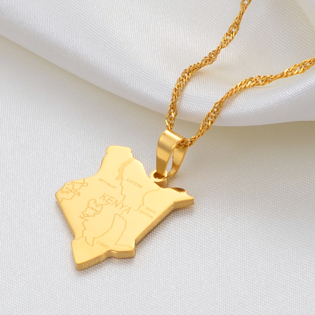 Anniyo Map of Kenya & City Name Pendant Necklaces Jewellery Gold Color African Country Map Jewelry kenyans Map Kenyan #135921