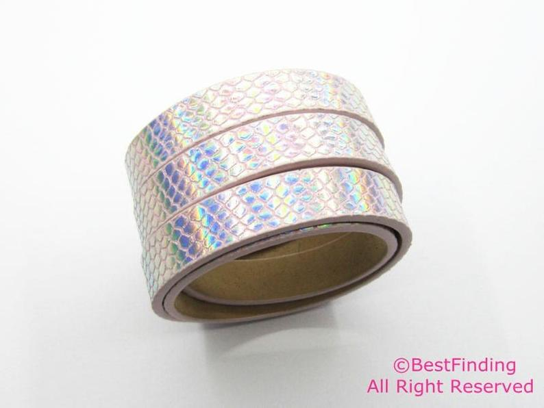 Slight Pink AB 10mm Flat Leather Cord Rhombus 10x2mm Leather Cord - 1meter S1095