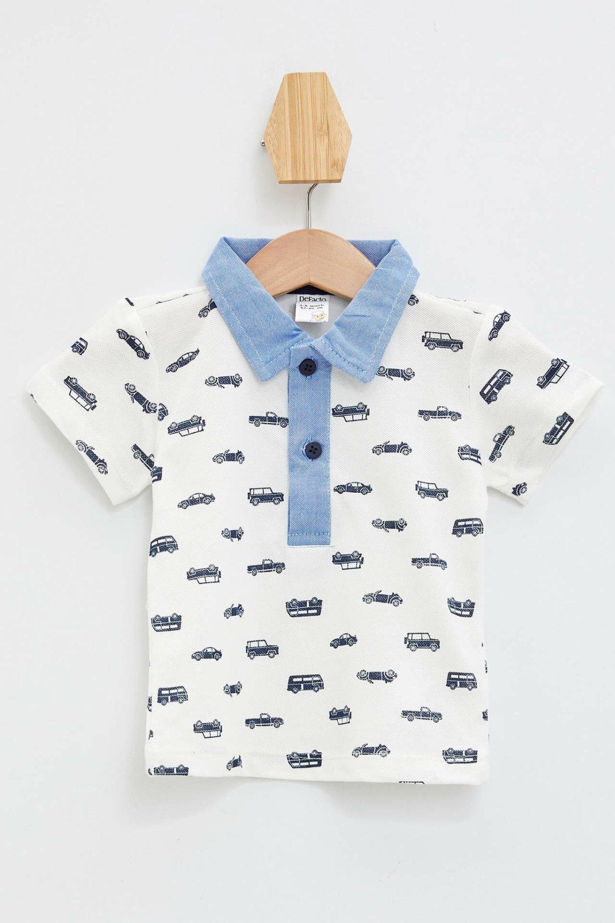 DeFacto Fashion BabyBoy Lapel Short Sleeve T-Shirt Summer Kids Cartoon Pattern Polo-shirt Boys Casual Cotton Tops - L0203A219SM