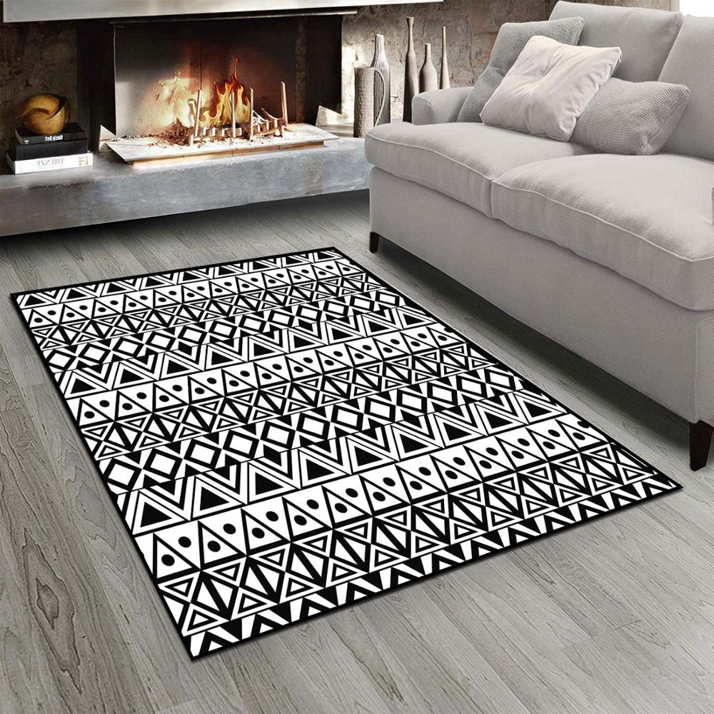 Else Black White Ethnic Lines Stripes Morrocan 3d Print Non Slip Microfiber Living Room Modern Carpet Washable Area Rug Mat