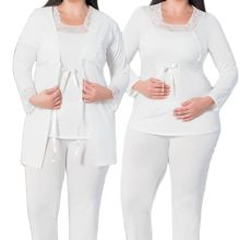 Women Nightgown Dressing Gown Pajamas Set Pregnancy Dress Cotton Soft Lahusa Wear at Home Comfortable Bed 3-Piece Oversize Range