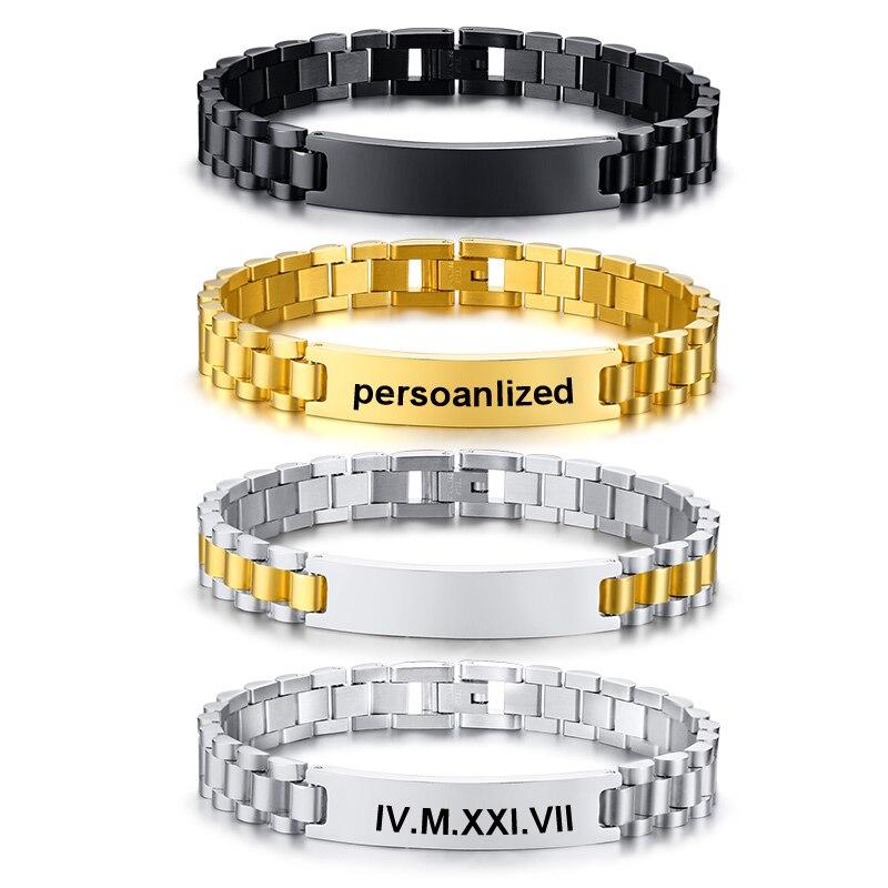 Personalized Men Bracelet Satinless Steel Chain Link Black Tone Name Coordinate Custom Male Women CouplesBracelet